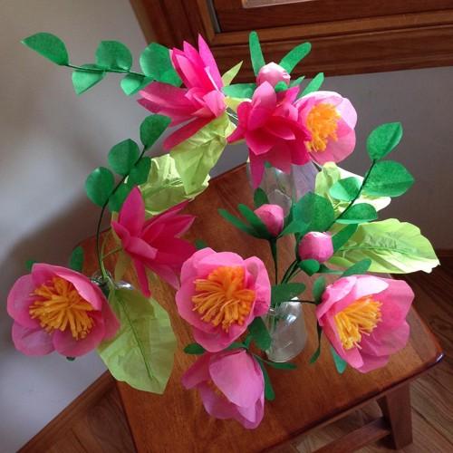 Букет из бумажных цветов своими руками