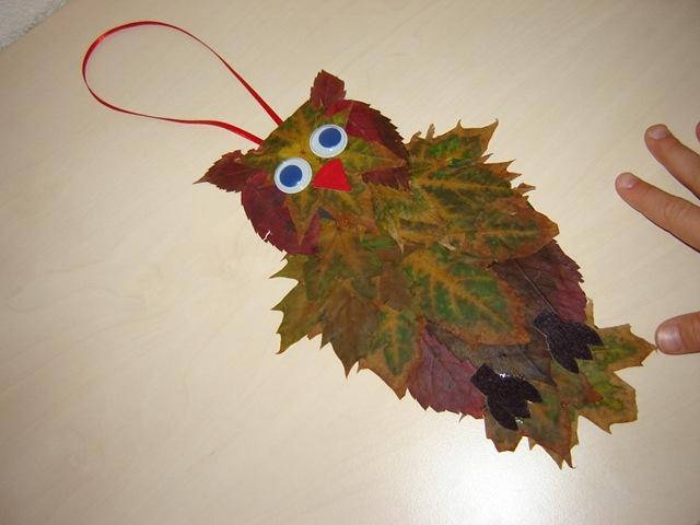 Сова из  листьев: необычная изделие своими руками