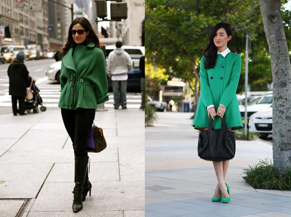 Модный акцент: с нежели  носить зеленое пальто?
