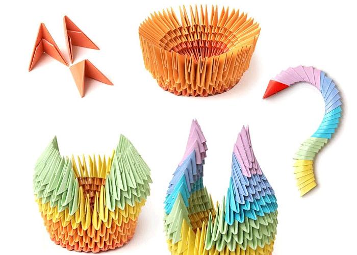 Оригами про ценителей: фигурки из  треугольных модулей