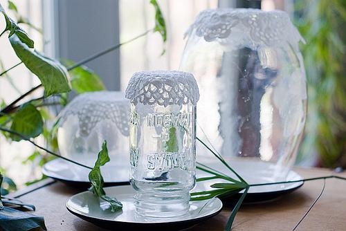 Как сделать вазы из салфеток - ваза из кружева