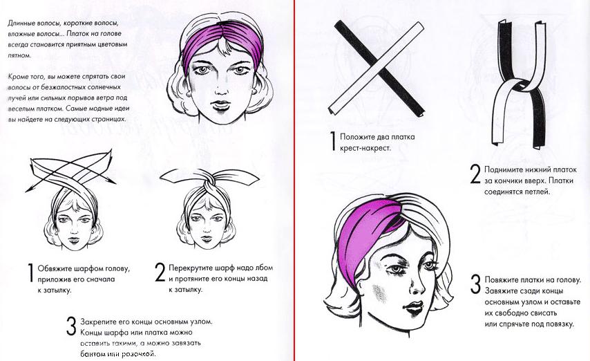 Как завязывать полушалок на голове – универсальные советы