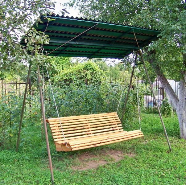 Качели садовые своими руками из металла фото