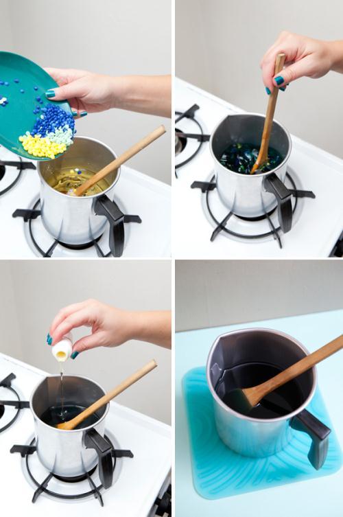 Как сделать цветную свечу